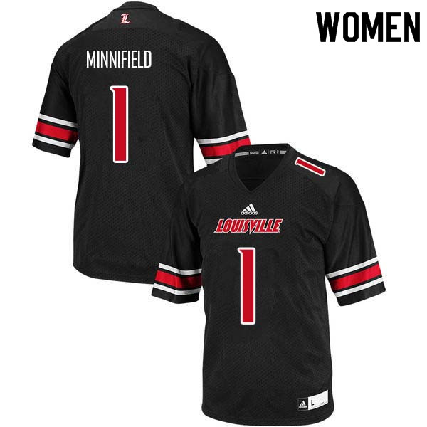 Women Louisville Cardinals #1 Frank Minnifield College Football Jerseys Sale-Black