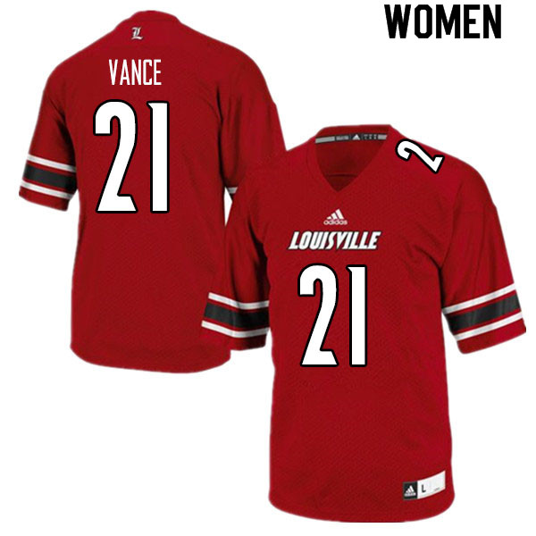 Women #21 Greedy Vance Louisville Cardinals College Football Jerseys Sale-Red