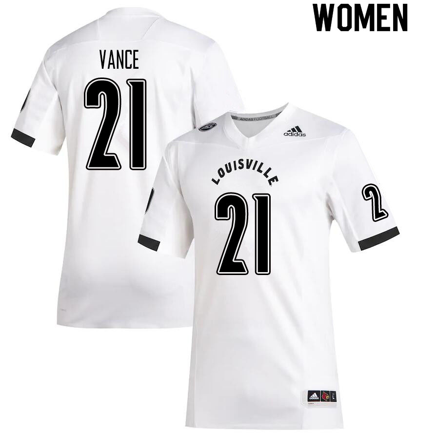 Women #21 Greedy Vance Louisville Cardinals College Football Jerseys Sale-White