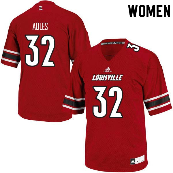 Women Louisville Cardinals #32 Jacob Ables College Football Jerseys Sale-Red