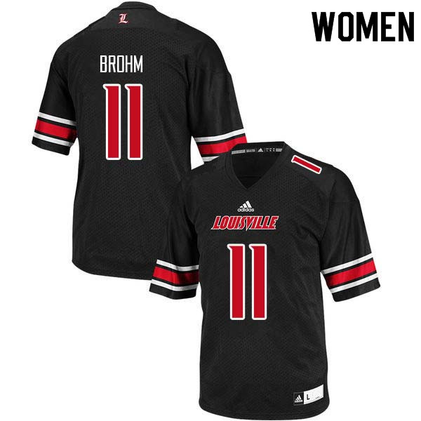 Women Louisville Cardinals #11 Jeff Brohm College Football Jerseys Sale-Black