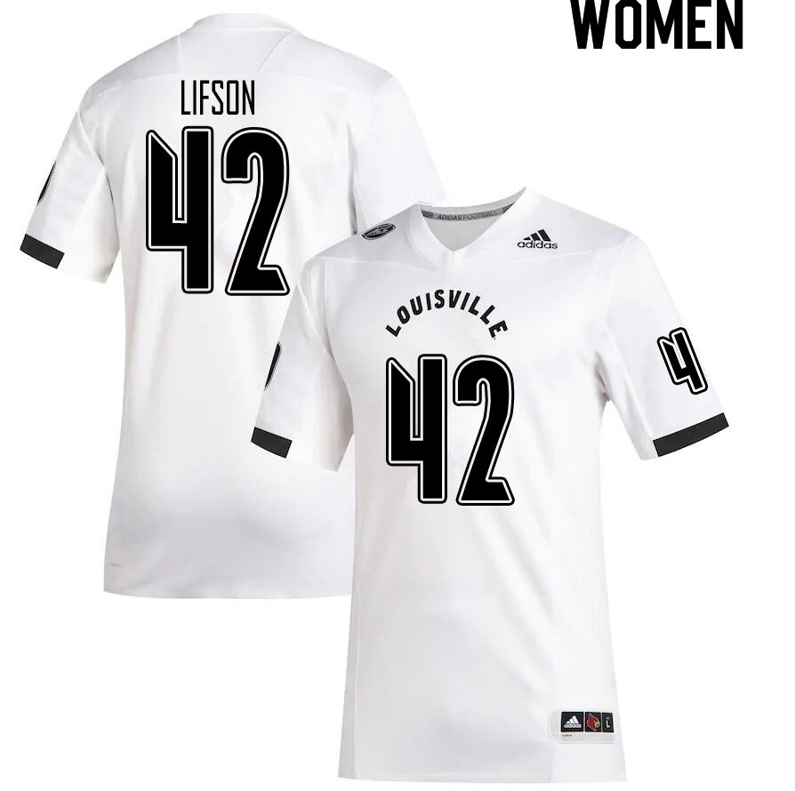 Women #42 Josh Lifson Louisville Cardinals College Football Jerseys Sale-White