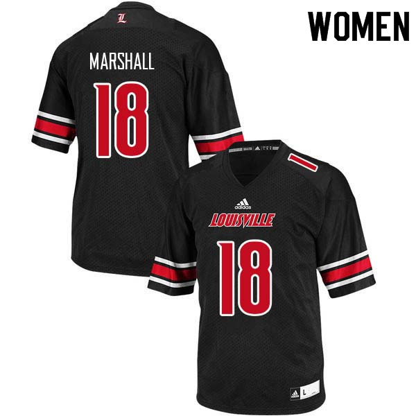 Women Louisville Cardinals #18 Justin Marshall College Football Jerseys Sale-Black