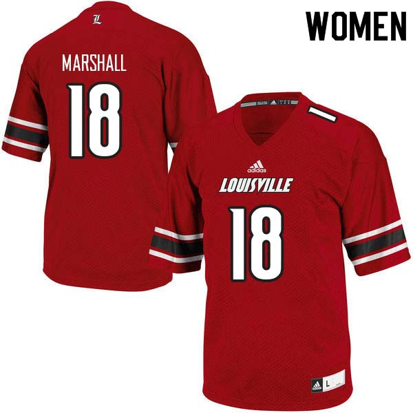 Women Louisville Cardinals #18 Justin Marshall College Football Jerseys Sale-Red