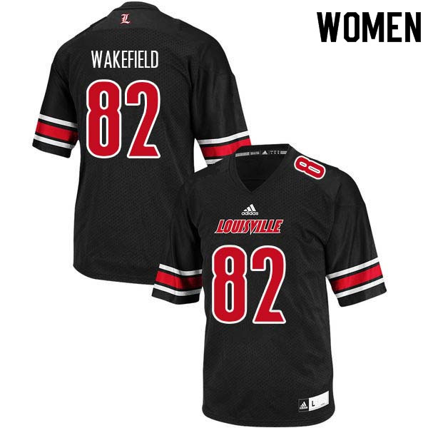 Women Louisville Cardinals #82 Keion Wakefield College Football Jerseys Sale-Black
