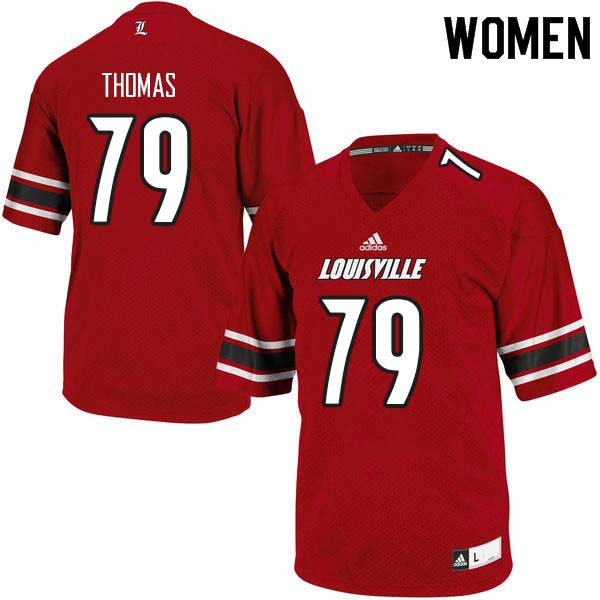 Women Louisville Cardinals #79 Kenny Thomas College Football Jerseys Sale-Red
