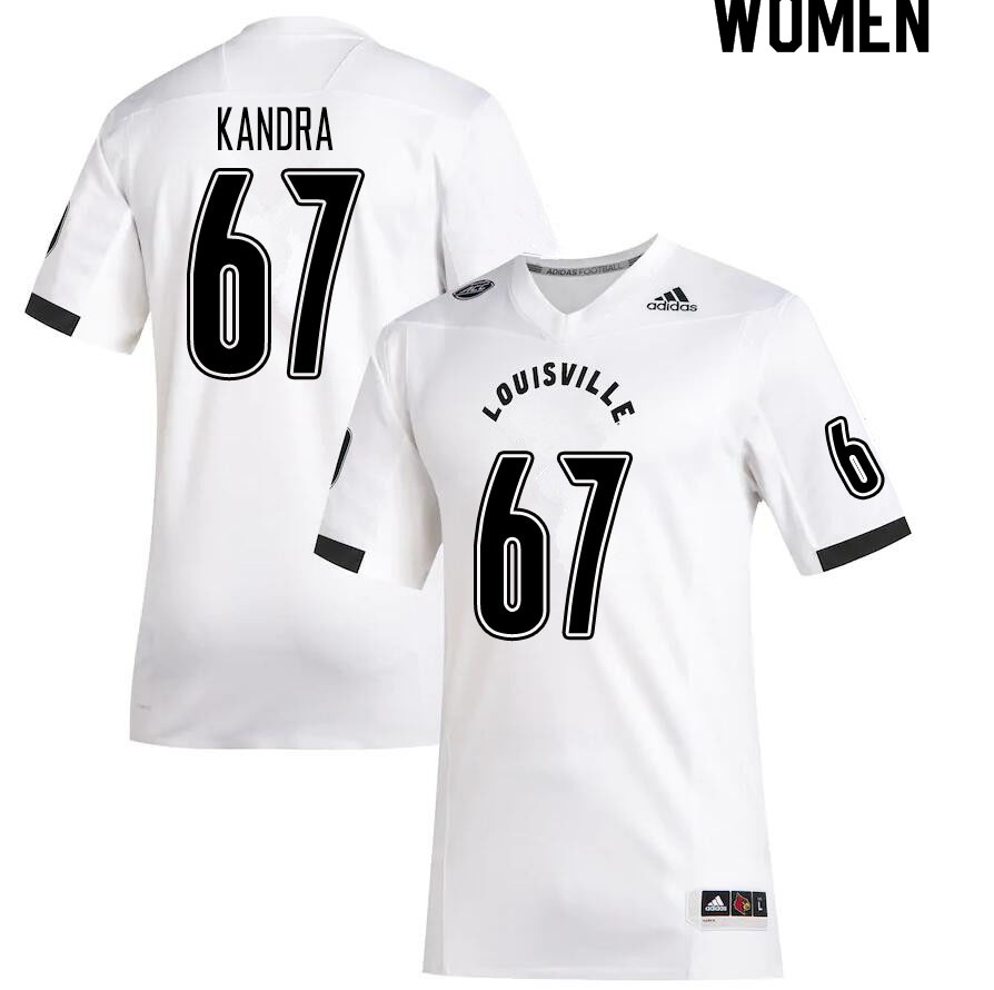 Women #67 Luke Kandra Louisville Cardinals College Football Jerseys Sale-White