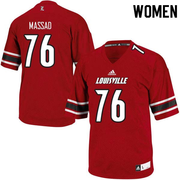 Women Louisville Cardinals #76 Luke Massad College Football Jerseys Sale-Red