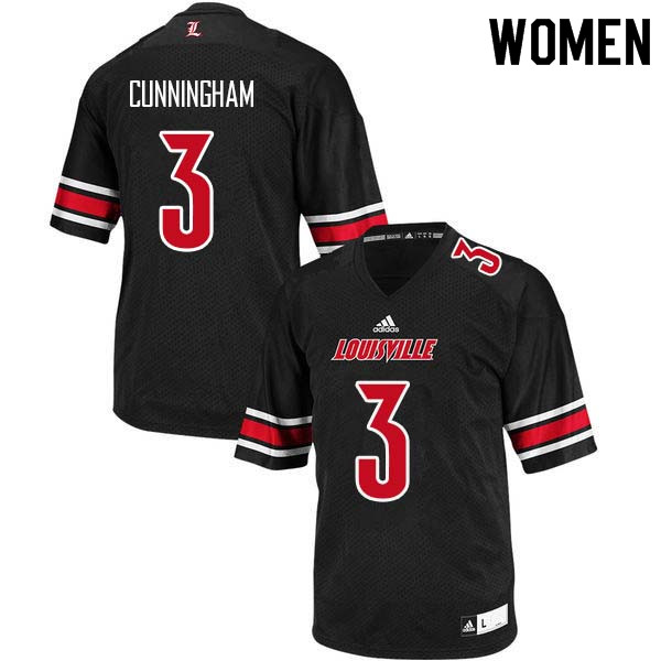 Women Louisville Cardinals #3 Malik Cunningham College Football Jerseys Sale-Black