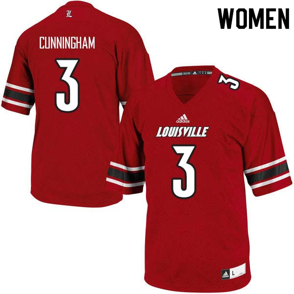 Women Louisville Cardinals #3 Malik Cunningham College Football Jerseys Sale-Red