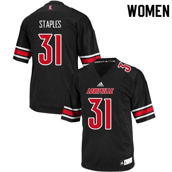 Women Louisville Cardinals #31 Malik Staples College Football Jerseys Sale-Black