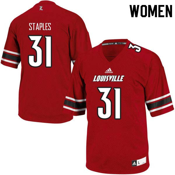 Women Louisville Cardinals #31 Malik Staples College Football Jerseys Sale-Red