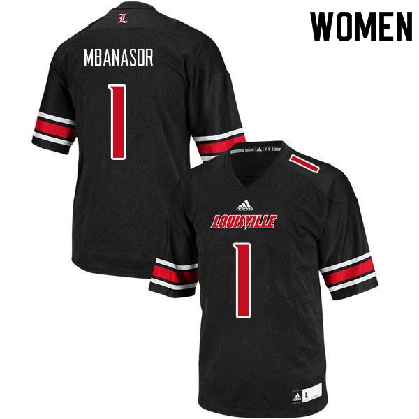 Women Louisville Cardinals #1 P.J. Mbanasor College Football Jerseys Sale-Black