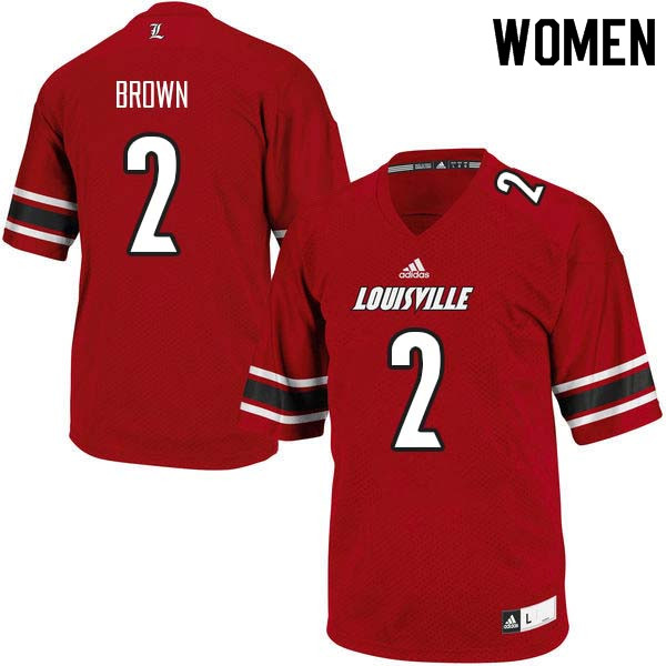 Women Louisville Cardinals #2 Preston Brown College Football Jerseys Sale-Red