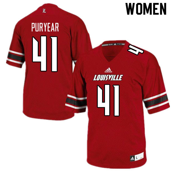 Women #41 Ramon Puryear Louisville Cardinals College Football Jerseys Sale-Red