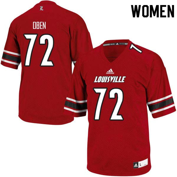Women Louisville Cardinals #72 Roman Oben College Football Jerseys Sale-Red