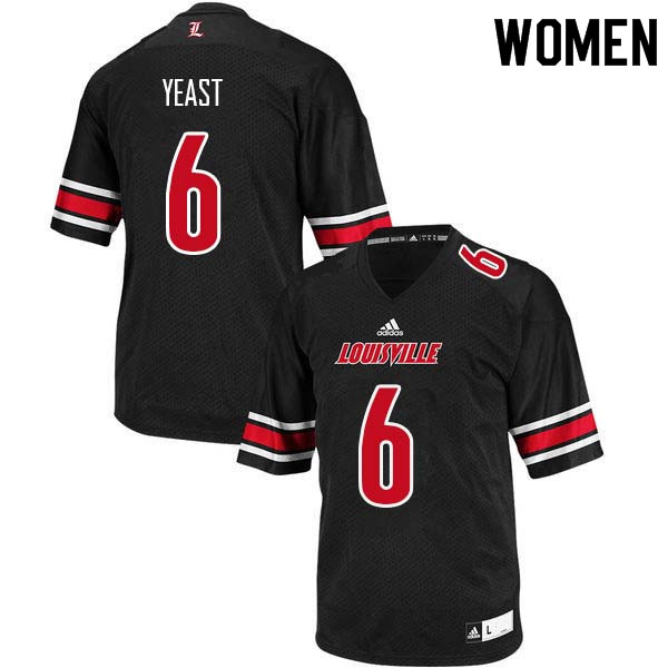 Women Louisville Cardinals #6 Russ Yeast College Football Jerseys Sale-Black
