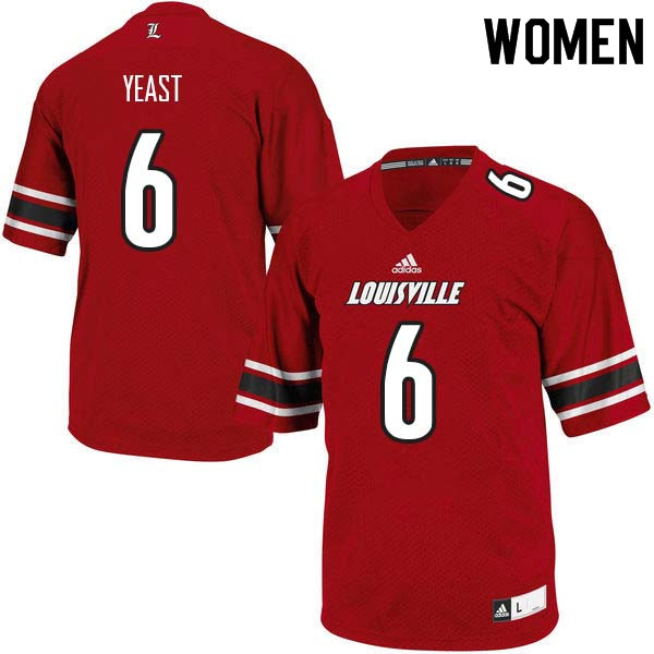 Women Louisville Cardinals #6 Russ Yeast College Football Jerseys Sale-Red