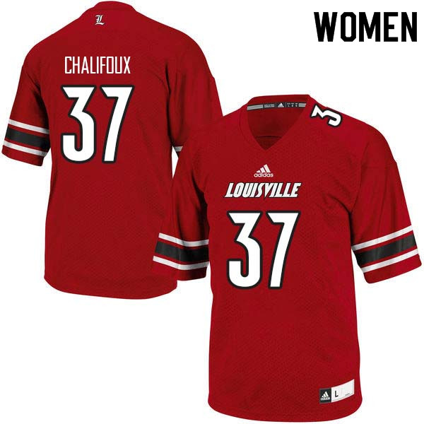 Women Louisville Cardinals #37 Ryan Chalifoux College Football Jerseys Sale-Red