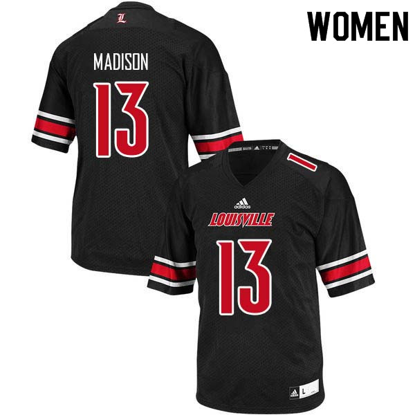 Women Louisville Cardinals #13 Sam Madison College Football Jerseys Sale-Black