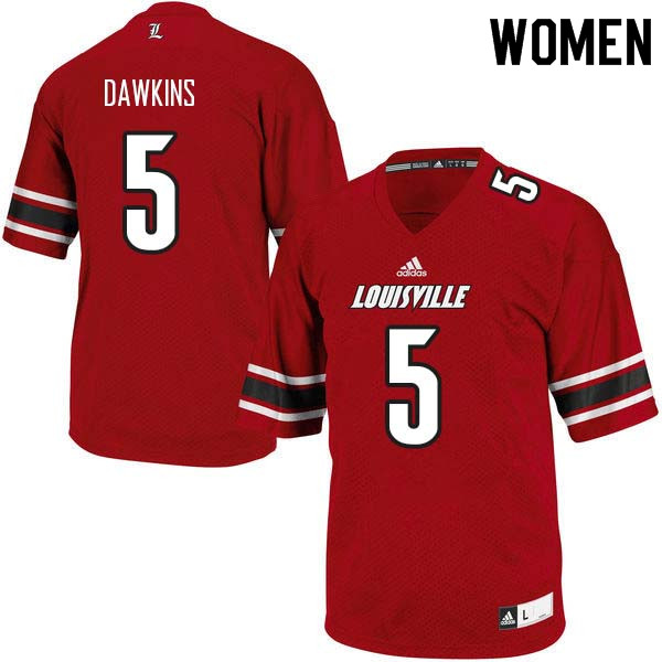 Women Louisville Cardinals #5 Seth Dawkins College Football Jerseys Sale-Red