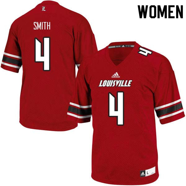 Women Louisville Cardinals #4 TreSean Smith College Football Jerseys Sale-Red