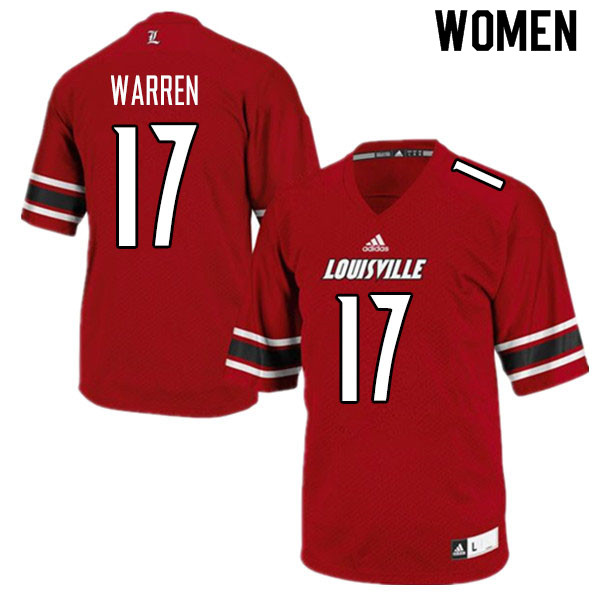 Women #17 Will Warren Louisville Cardinals College Football Jerseys Sale-Red