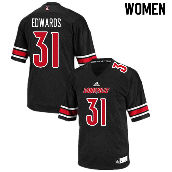 Women #31 Zach Edwards Louisville Cardinals College Football Jerseys Sale-Black