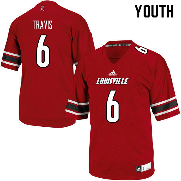 Youth #6 Jordan Travis Louisville Cardinals College Football Jerseys Sale-Red