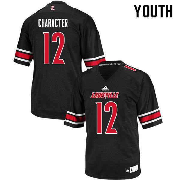 Youth #12 Marlon Character Louisville Cardinals College Football Jerseys Sale-Black