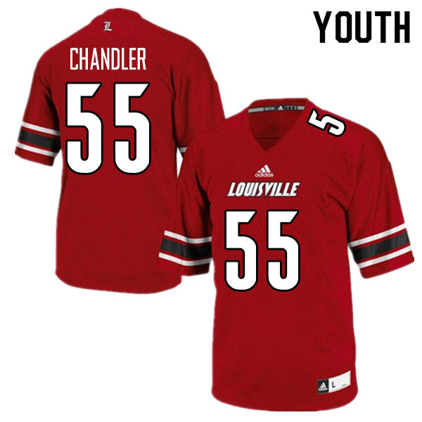Youth #55 Caleb Chandler Louisville Cardinals College Football Jerseys Sale-Red