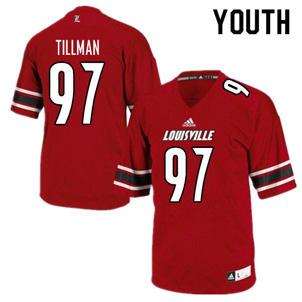 Youth #97 Caleb Tillman Louisville Cardinals College Football Jerseys Sale-Red