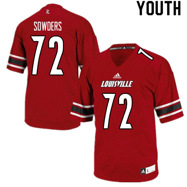 Youth #72 Emmanual Sowders Louisville Cardinals College Football Jerseys Sale-Red
