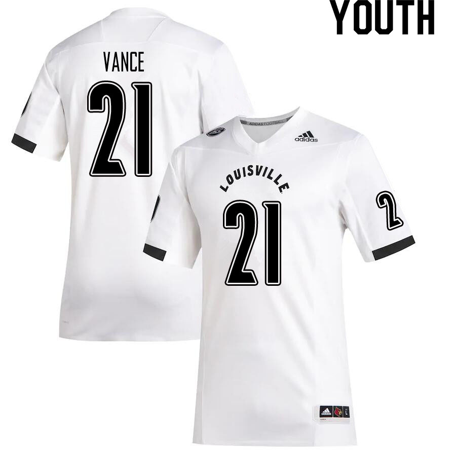 Youth #21 Greedy Vance Louisville Cardinals College Football Jerseys Sale-White