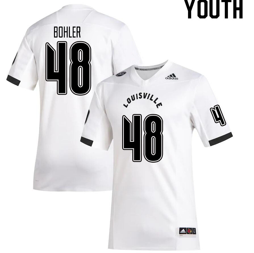 Youth #48 Hale Bohler Louisville Cardinals College Football Jerseys Sale-White