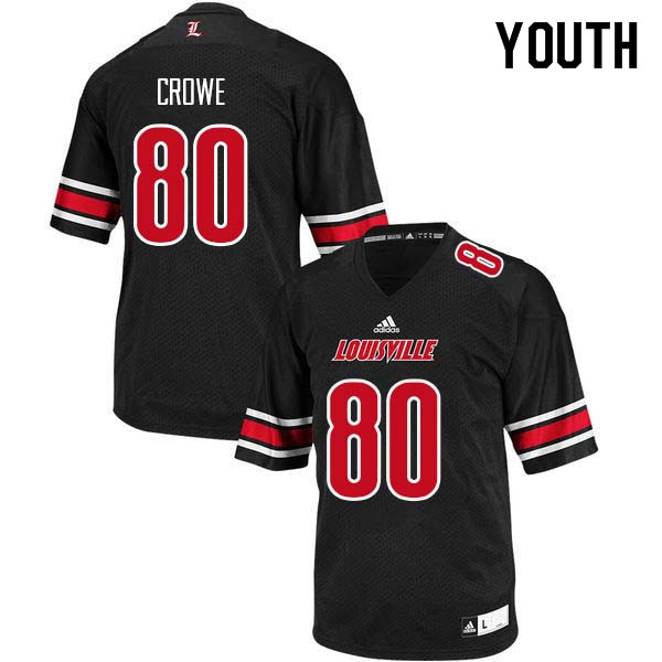 Youth Louisville Cardinals #80 Hunter Crowe College Football Jerseys Sale-Black