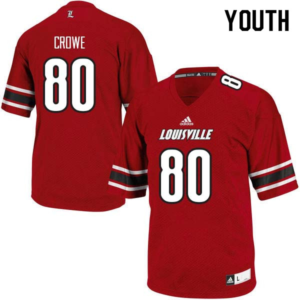 Youth Louisville Cardinals #80 Hunter Crowe College Football Jerseys Sale-Red