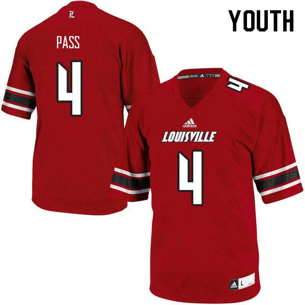 Youth Louisville Cardinals #4 Jawon Pass College Football Jerseys Sale-Red