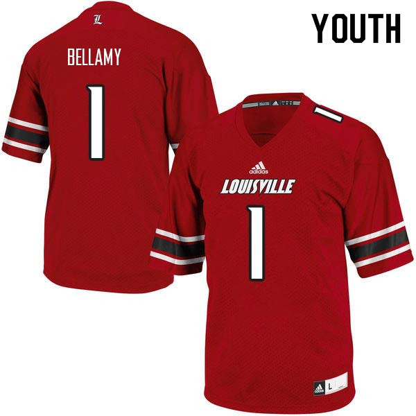 Youth Louisville Cardinals #1 Joshua Bellamy College Football Jerseys Sale-Red