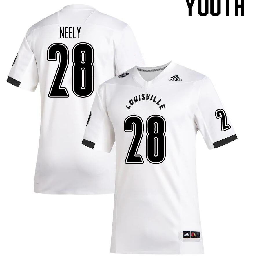 Youth #28 Kade Neely Louisville Cardinals College Football Jerseys Sale-White