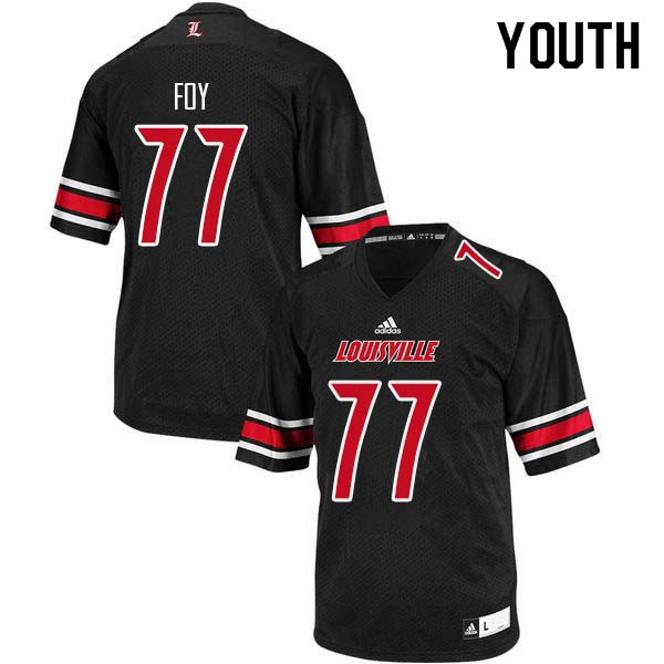 Youth Louisville Cardinals #77 Linwood Foy College Football Jerseys Sale-Black