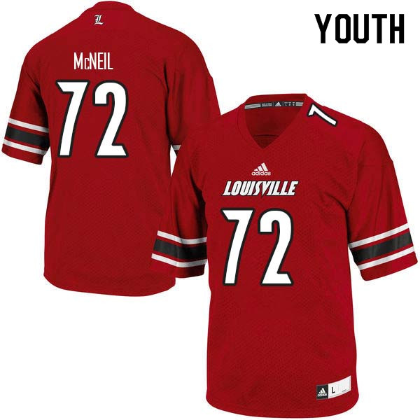 Youth Louisville Cardinals #72 Lukayus McNeil College Football Jerseys Sale-Red