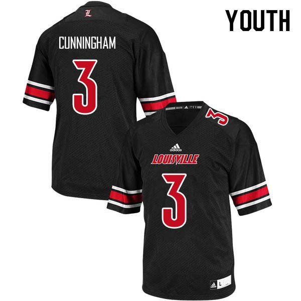 Youth Louisville Cardinals #3 Malik Cunningham College Football Jerseys Sale-Black