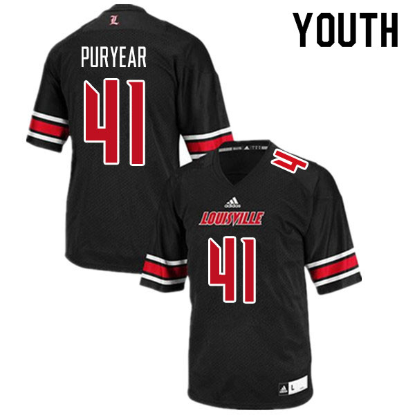 Youth #41 Ramon Puryear Louisville Cardinals College Football Jerseys Sale-Black