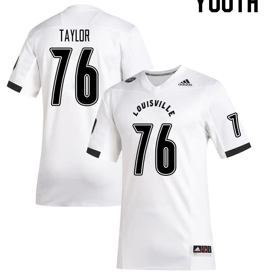 Youth #76 Travis Taylor Louisville Cardinals College Football Jerseys Sale-White