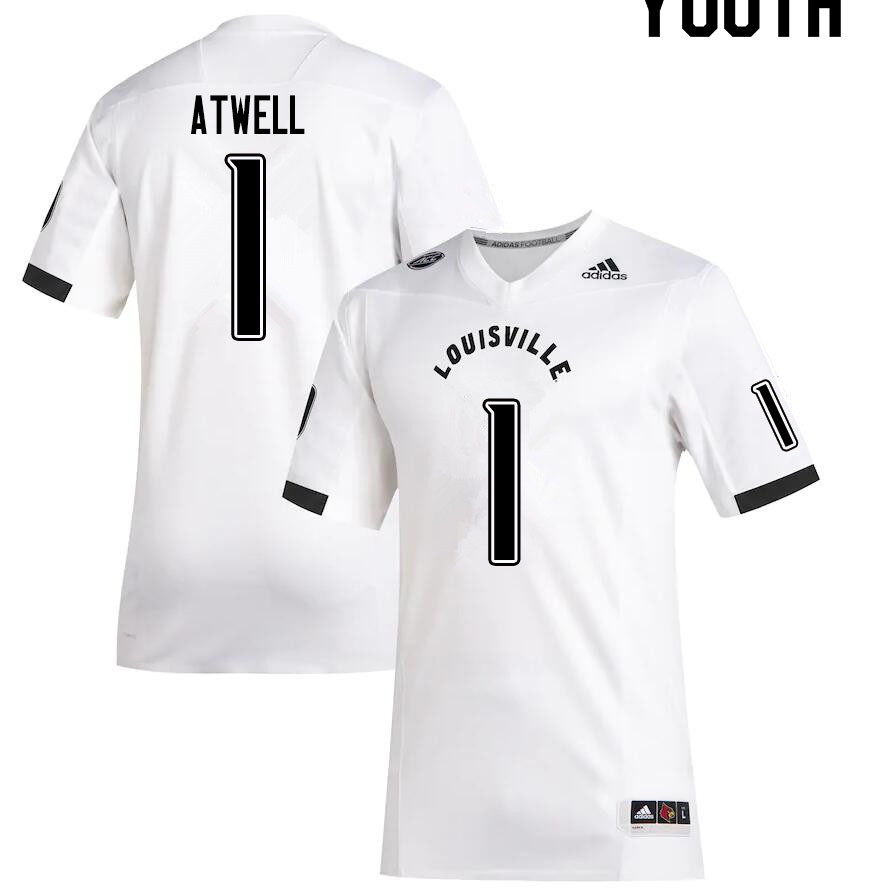 Youth #1 Tutu Atwell Louisville Cardinals College Football Jerseys Sale-White