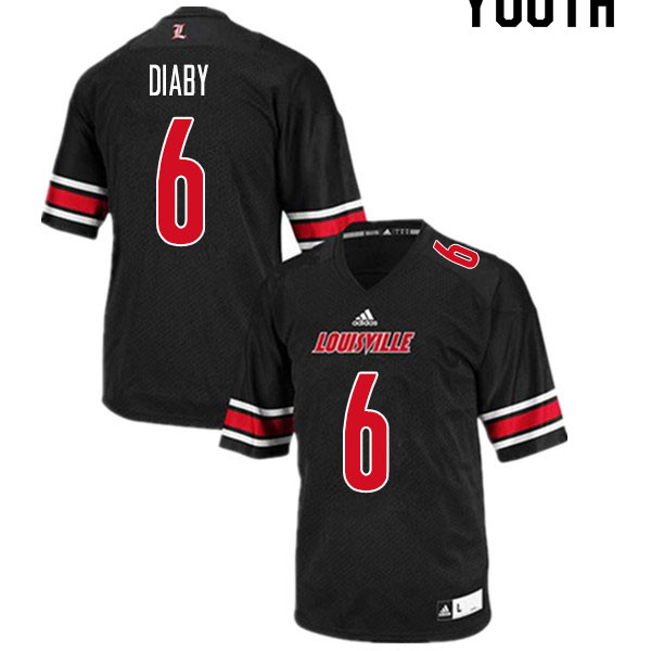 Youth #6 YaYa Diaby Louisville Cardinals College Football Jerseys Sale-Black